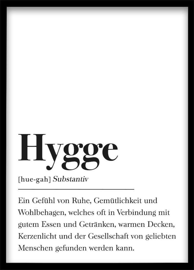 Poster Hygge Din A4 Plakat Dekoration Schweden Schwarz Weiss Poster Skandinavisch Wohnen Geschenk Wohnen Schweden Typografie Poster Hygge Plakat