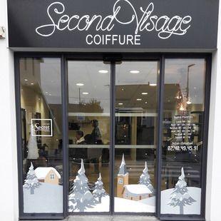 d coration vitrine de no l salon de coiffure thouar sur loire peinture sur vitrine. Black Bedroom Furniture Sets. Home Design Ideas