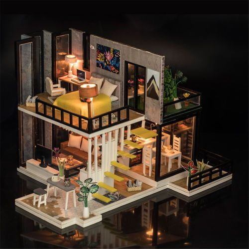 DIY LED Sea-view Dollhouse Miniature Wooden Furniture Kit Doll House Gifts