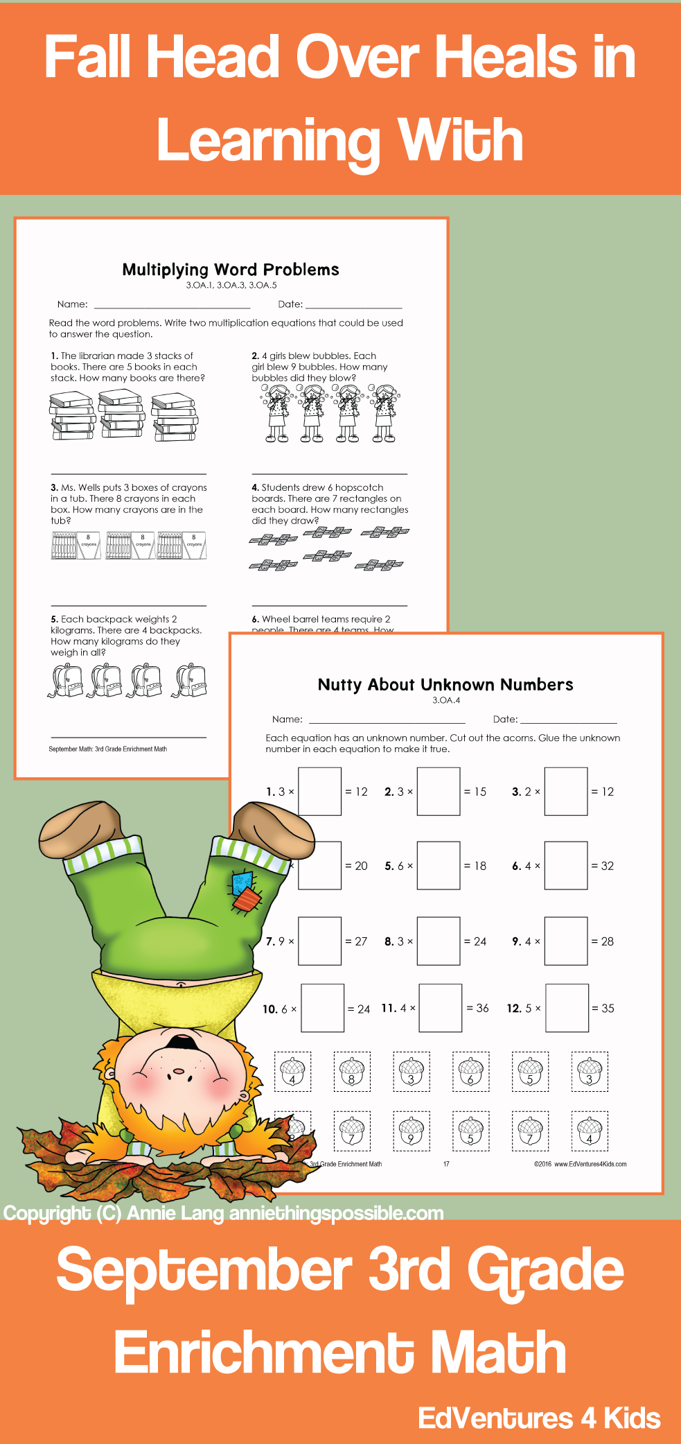 small resolution of September Enrichment Math for 3rd Grade is a collection of 15 challenging