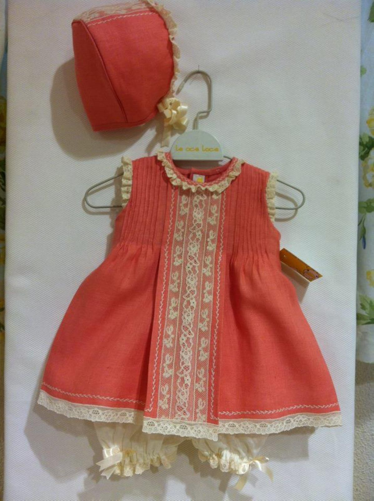 Sweet dress with pintucks and lace. The contrast is nice!