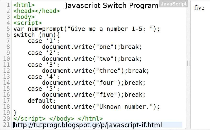 Javascript Switch Programming Code Picture Http Tutprogr Blogspot Gr P Javascript Html Programming Code Javascript Html Javascript