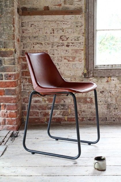 Exceptionnel Industrial Leather Dining Chair   Brown With Black Legs