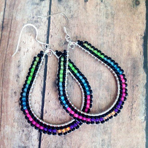 Native American Beaded Teardrop Hoop Earrings Beaded Hoop