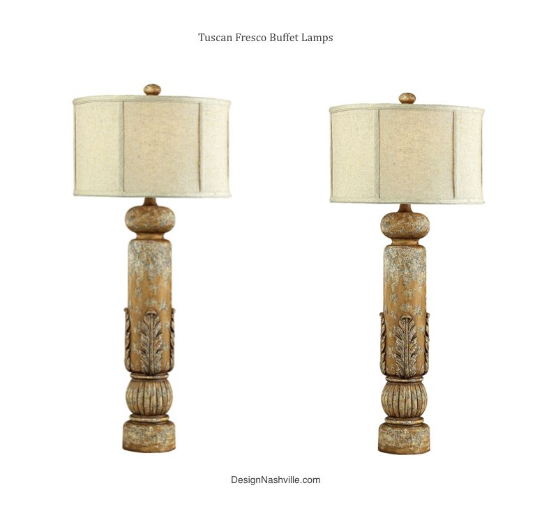 Tall Lamps As Romantic As The Architecture Of Italy! Tuscan Fresco Lamps Set  Of 2