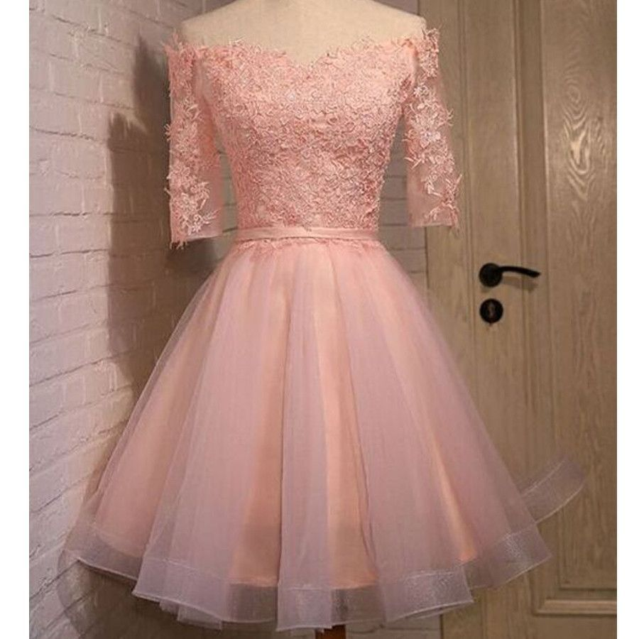 Pink lace off shoulder half sleeve graduation homecoming prom dress ...