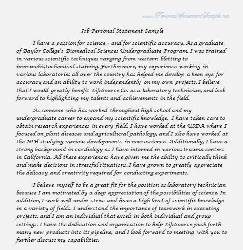 Job Personal Statement Sample    wwwpersonalstatementsamplenet - best of 9 personal statement letter