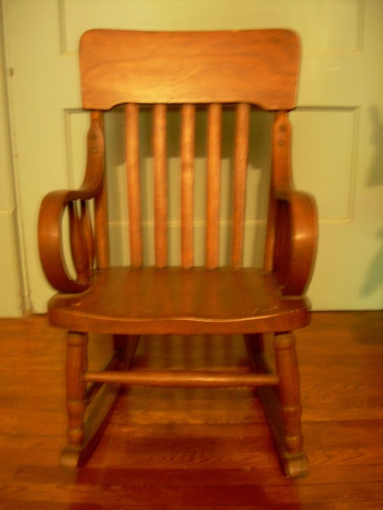 Antique Rocking Chair For Child, C. 1920s, Bent Wood Arms, Molded Seat