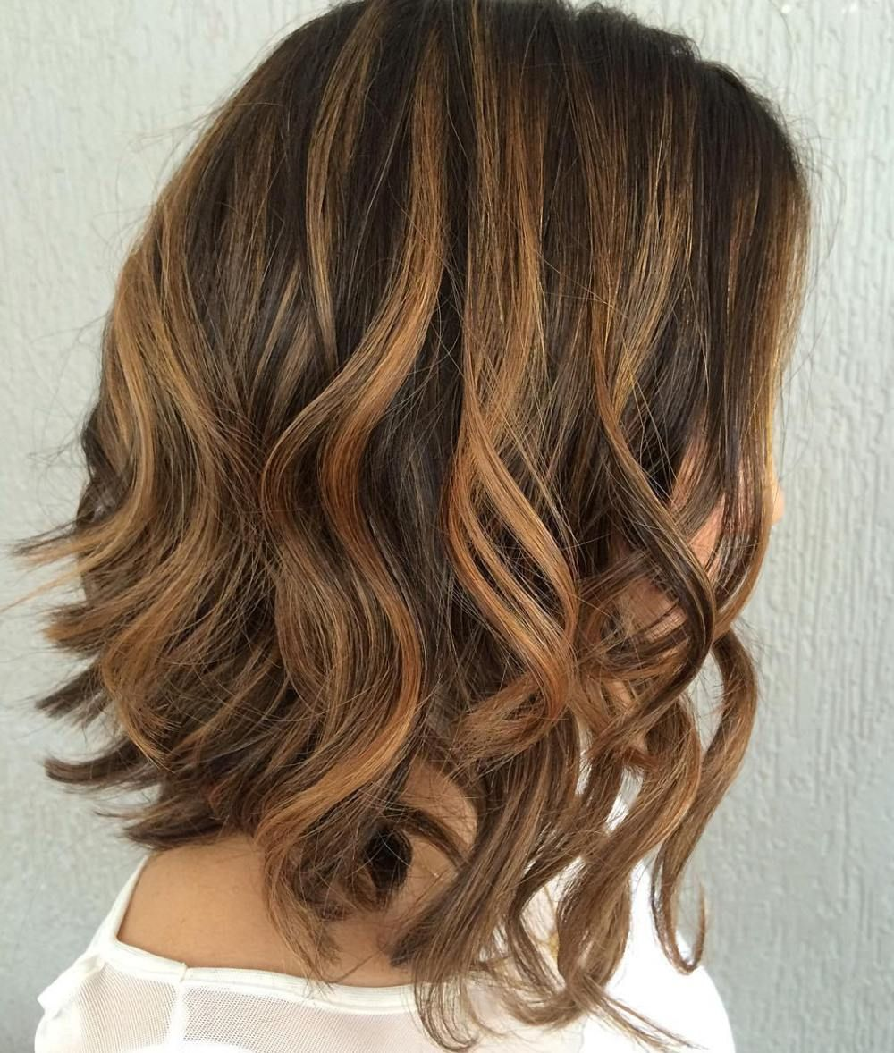 Brunette Lob With Caramel Highlights Lob Hairstyle