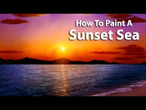 Follow Along As I Create A Digital Painting Of A Stunning Seascape From Imagination Using Core Sunset Painting Sunset Painting Easy Landscape Painting Tutorial