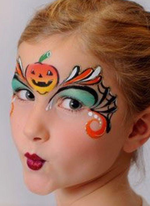 Halloween Schminkideen Fur Die Kleinen Madchen Face Painting Halloween Pumpkin Face Paint Face Painting Halloween Kids