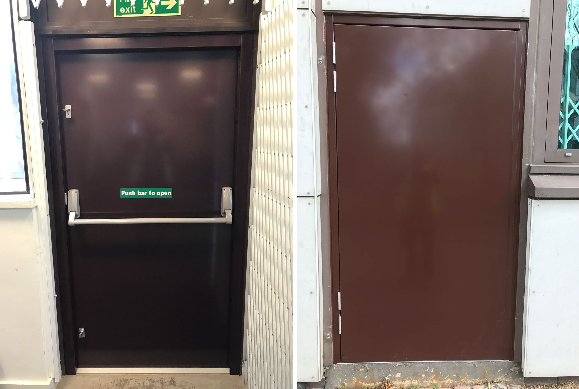 Our RSG8100 Fire Exit Security Door fitted