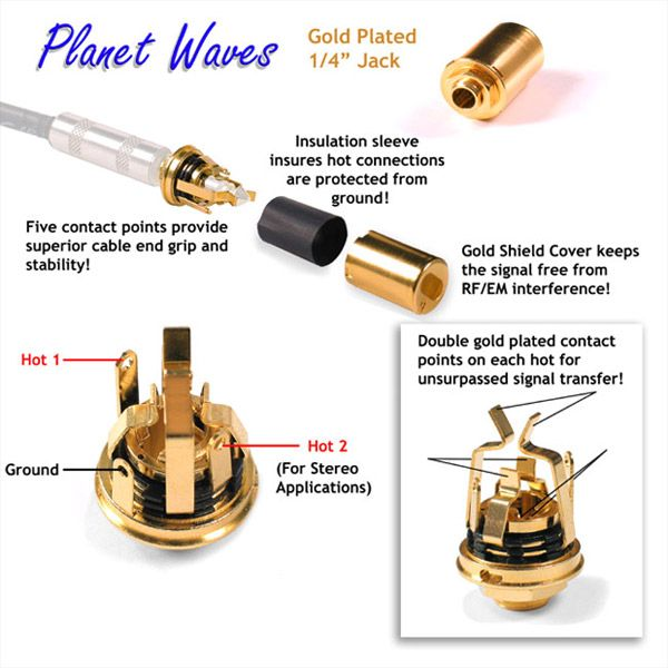 planet waves stereo jack gold plated guitar idea. Black Bedroom Furniture Sets. Home Design Ideas