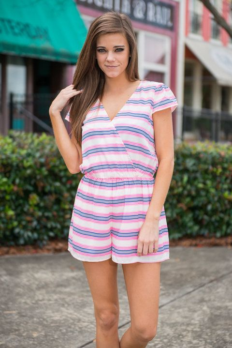 Stuck On Stripes Romper, Hot Pink || We have loved stripes for quite some time here at the Mint. But after seeing this hot pink and navy romper we are stuck on them! The colors play off of each other so well! Plus, you can't deny that this romper has a fantastically comfy cute fit!