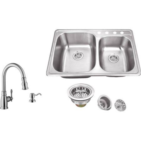 22 Inch Kitchen Sink B&q Kitchens Magnus Sinks 33 1 8 X 20 Gauge Stainless Steel Double Bowl With Arc Faucet Silver
