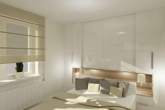 kleines schlafzimmer weiß hochglanz ecru holz nische regale - schlafzimmer weiss hochglanz
