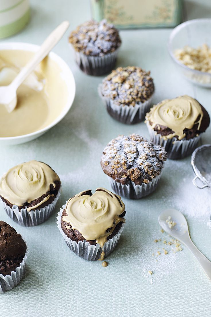 Sweet Chocolate Cupcakes With Crushed Amaretti Biscuits And