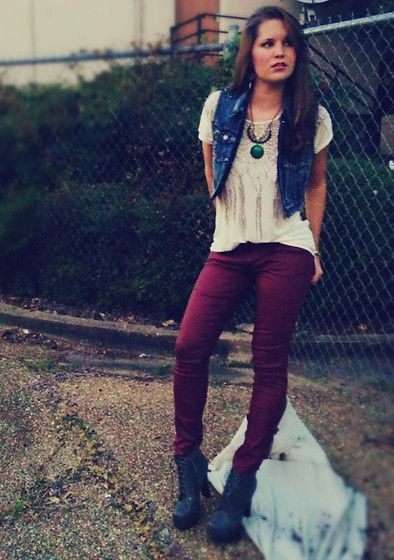 Denim Vest, Maroon Coated Jeans, Gentle Fawn White Tee, Grey Lita