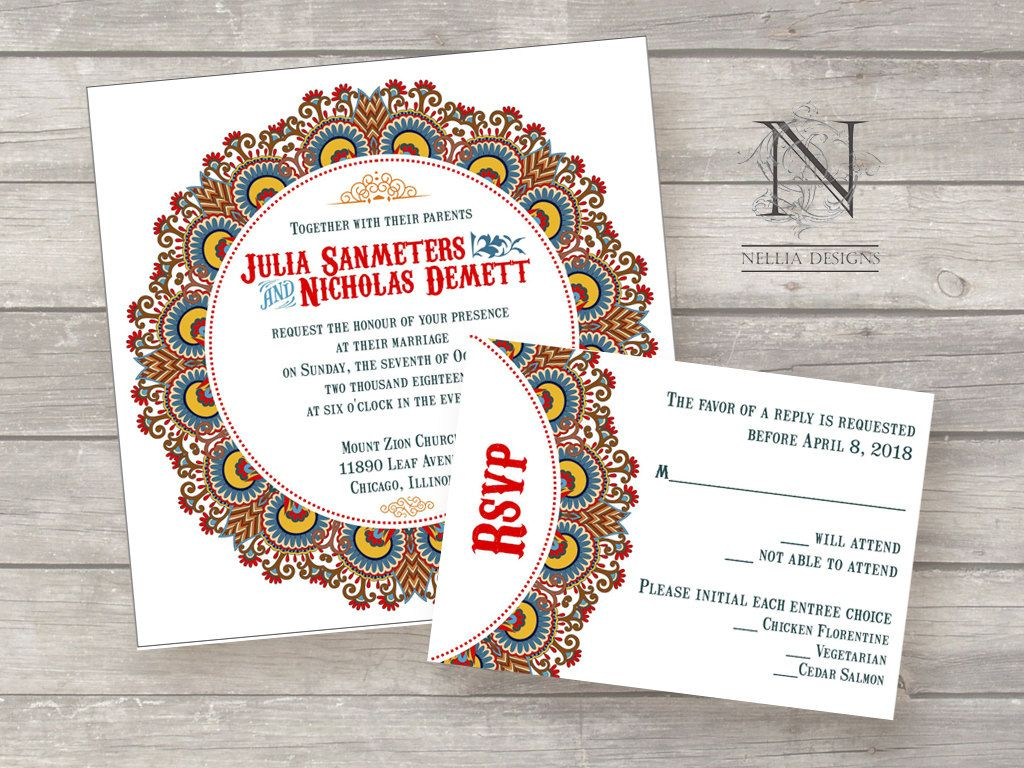 Lace Circus Wedding Invitations - Colorful Vintage Western detail ...
