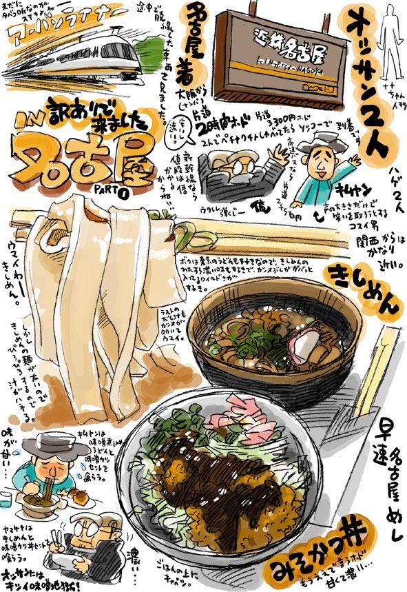 名古屋めしの旅 料理のスケッチ 食品の絵画 日本食のアート