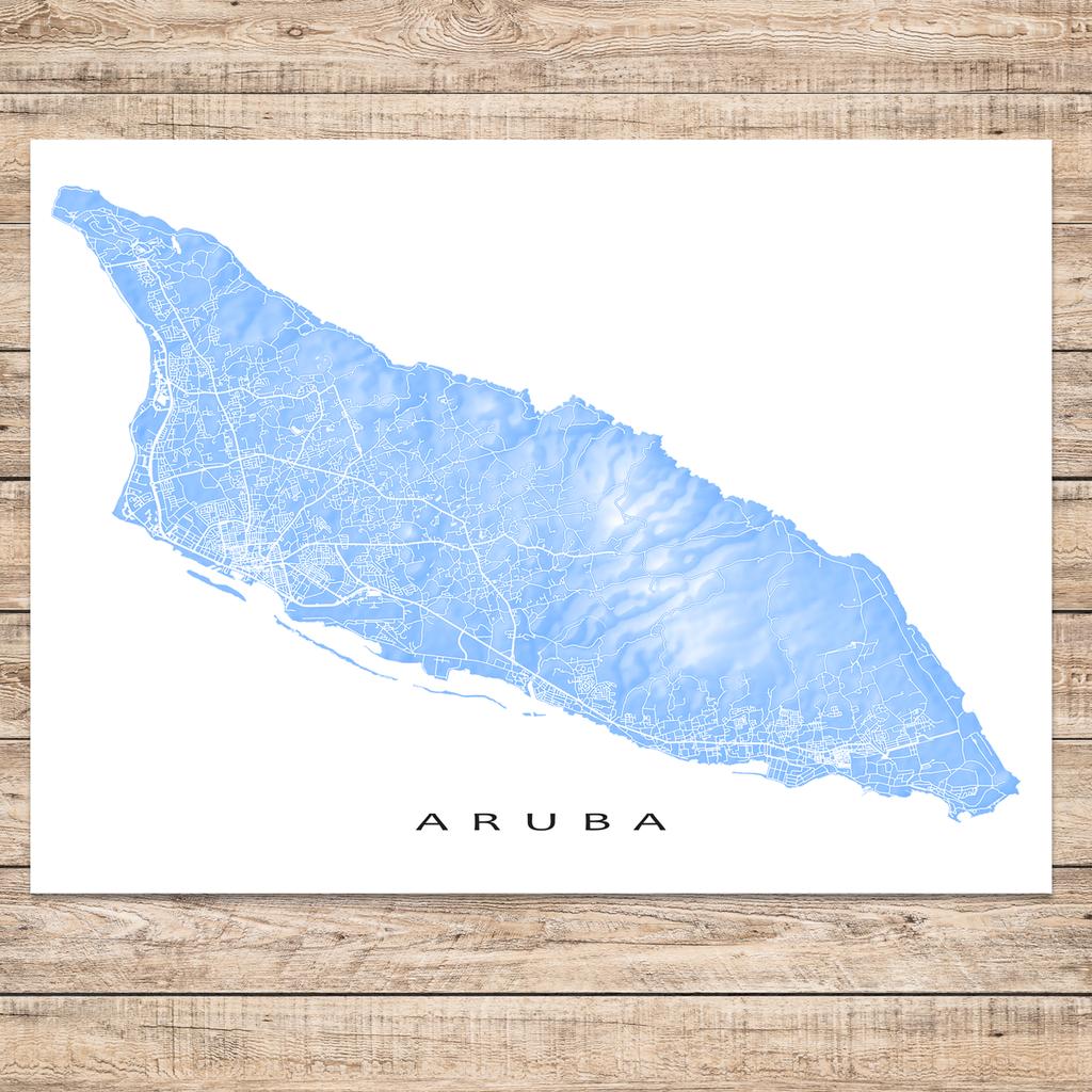 Aruba Map Print Colors Aruba map Island nations and Caribbean