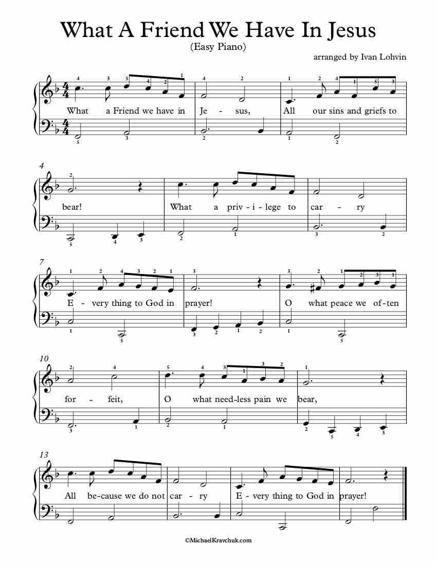 Free Piano Arrangement Sheet Music What A Friend We Have In