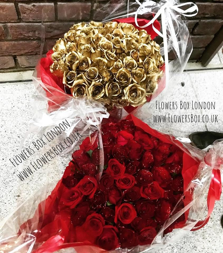 Gold and Red Roses Box 🌹😍 flowersboxlondon flowersbox