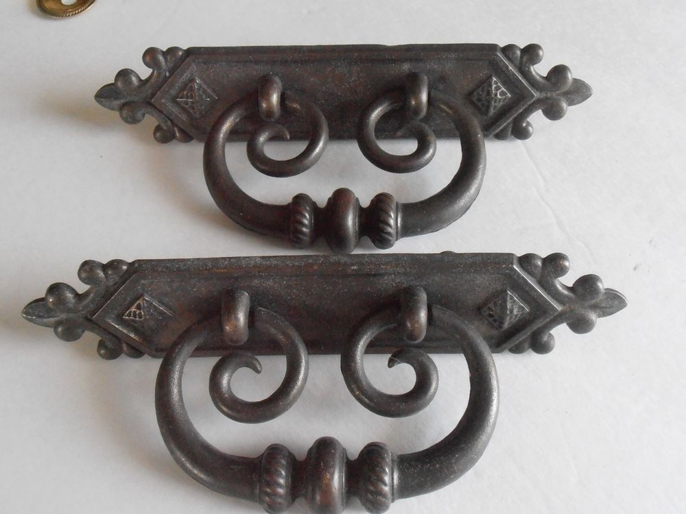 NOS HUGE BRASS DRAWER PULLS-2