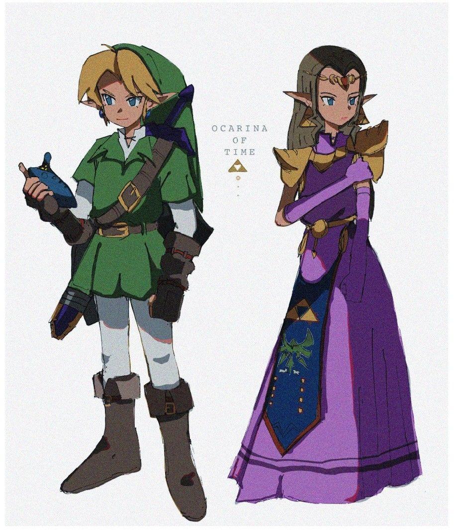 Legend Of Zelda Ocarina Of Time Art Link Princess Zelda Courage Wisdom Oot Kukakoo Link Zelda Costume Link Zelda Link And Zelda Kiss