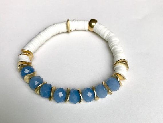 Crytal Clear Crystal Blue Opaque Bead Bracelet With Gold