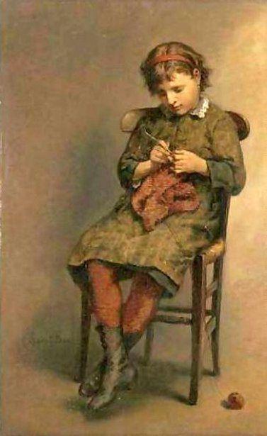 Knitting A Jersey - Lionel Oscar Baes (1839 – 1913, Belgian)