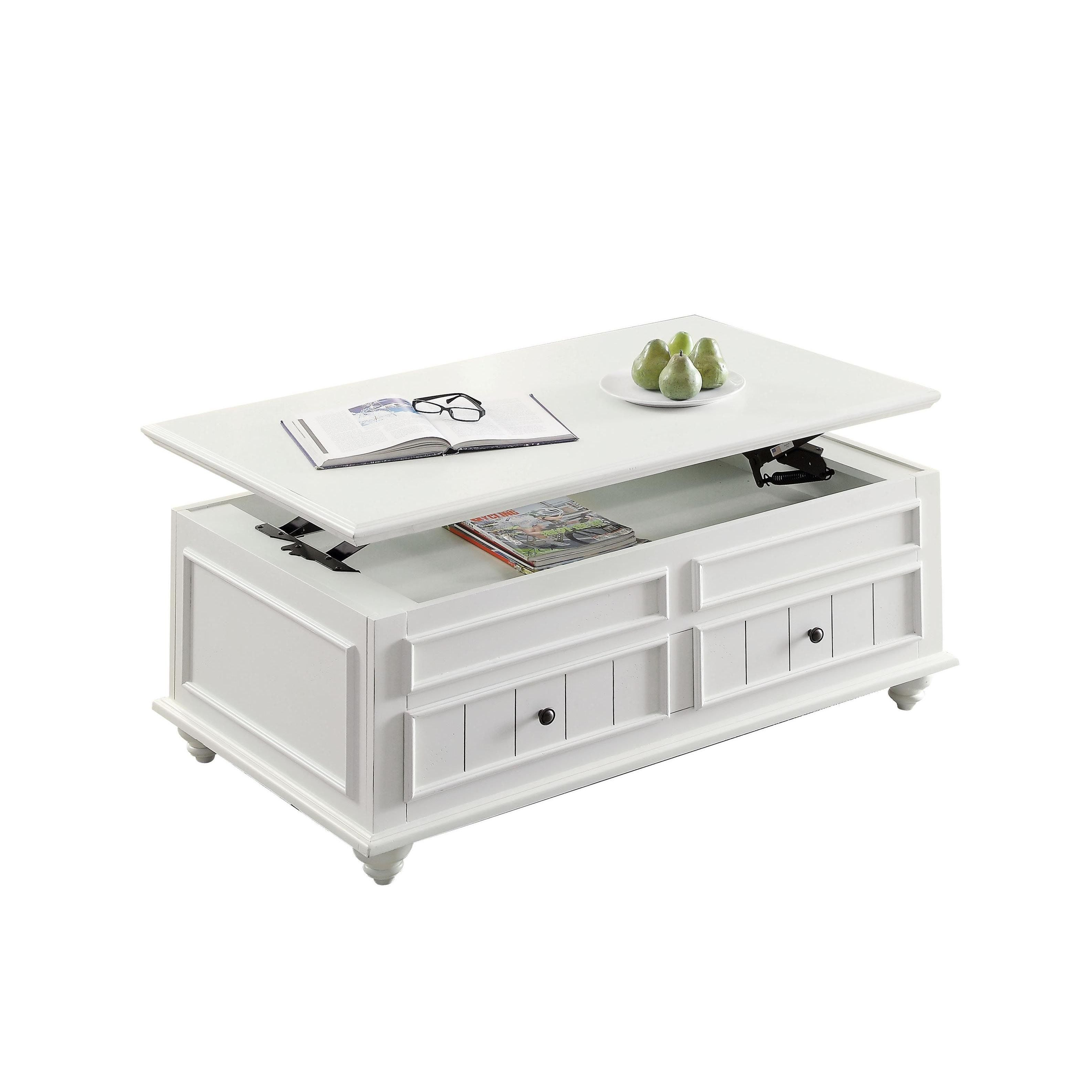 Acme Furniture Natesa Coffee End Table White Washed Square End
