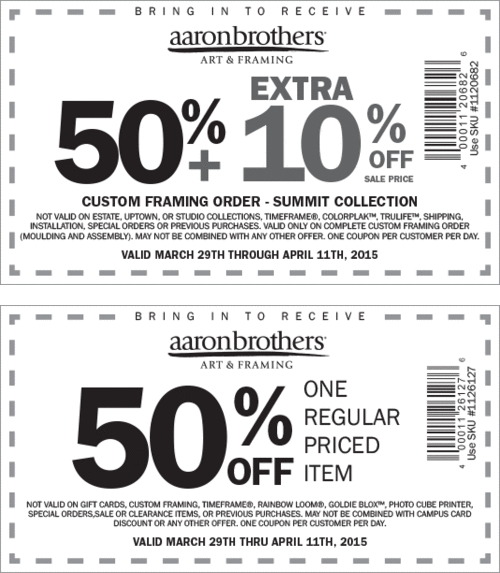 Pinned April 5th: 50% off a single item at Aaron #Brothers art ...