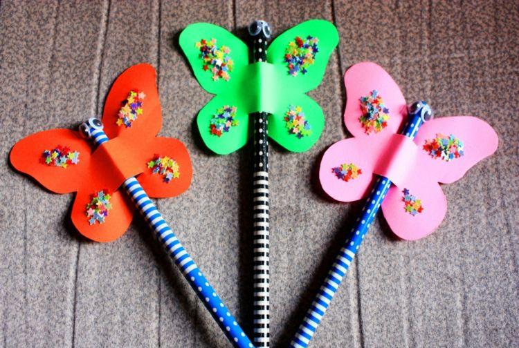 Schmetterlinge Basteln Mit Kindern Buntstift Deko Accessoire
