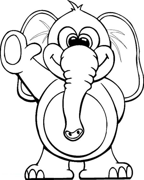 Circus Elephant Circus Elephant Waving Hand Coloring Pages