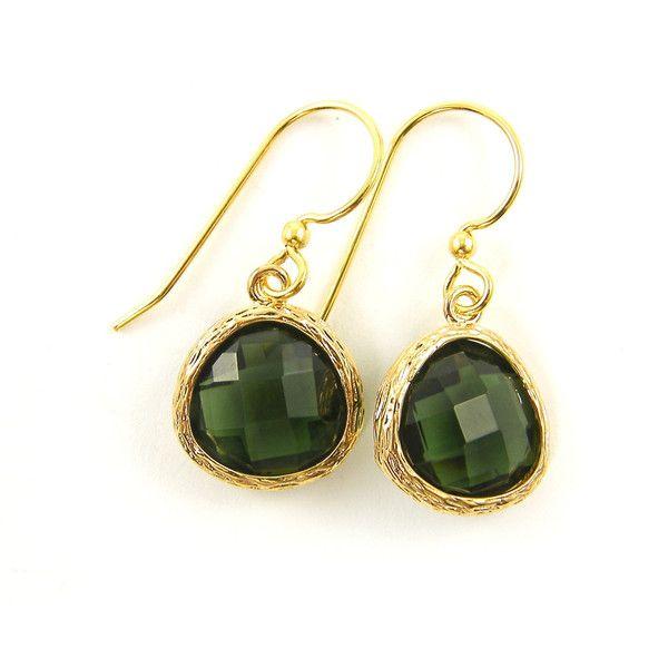 Olive Green Earrings Gold Teardrop Erinite 18