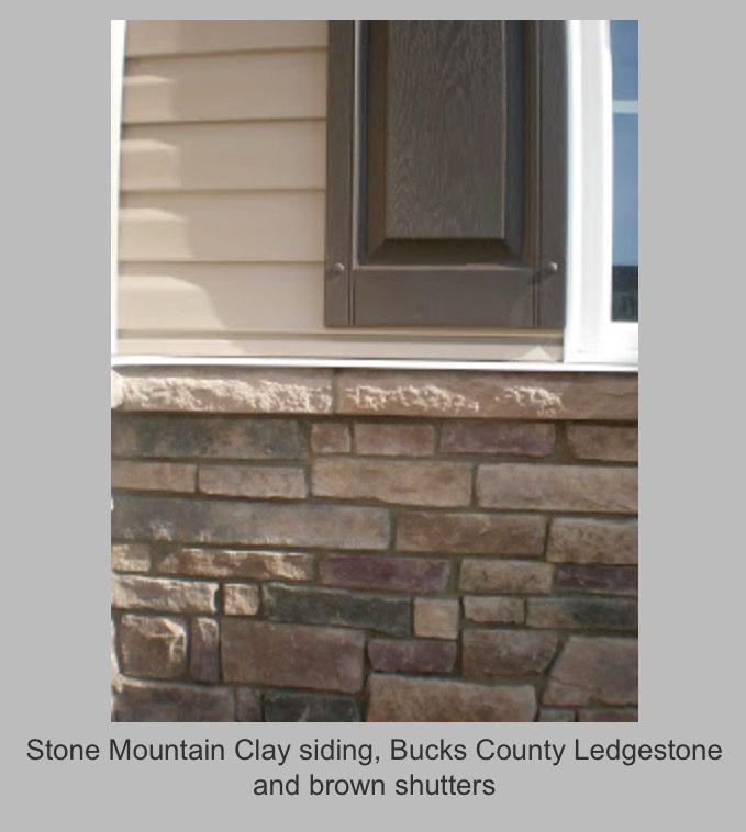 Bucks County Ledgestone Brown Shutters Stone Mountain Clay Siding Ryan Homes Outdoor Makeover Exterior Siding Colors