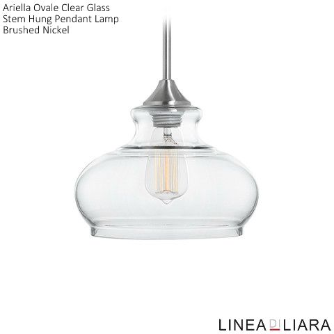 Ariella ovale clear glass pendant lamp brushed nickel kitchens ariella ovale clear glass pendant lamp brushed nickel aloadofball Image collections