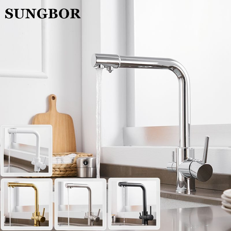 100 Brass Marble Painting Swivel Drinking Water Faucet 3 Way