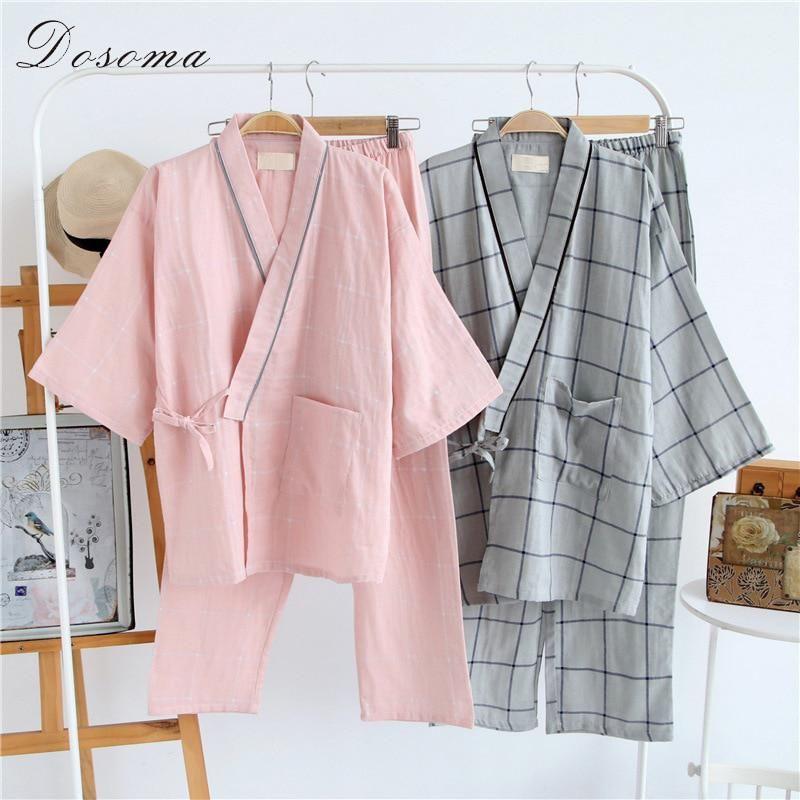 Japanese Men/'s Kimono Yukata Double-layered Cotton Bathrobe Robe Long Pajamas