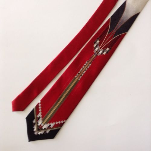Pierre Cardin Abstract Mens Neck Tie Silk Red Black White Gold