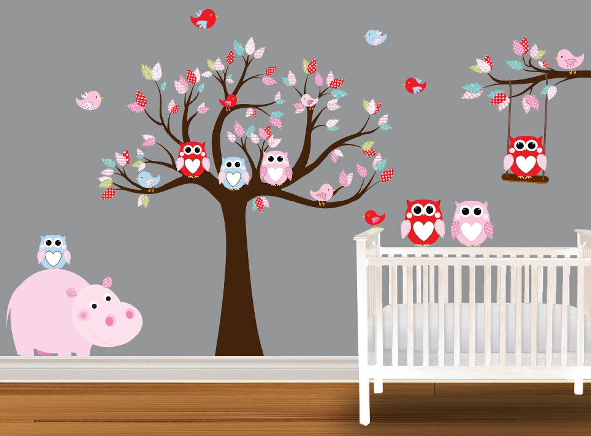 Nursery owl wall decal children wall decal wall stickers owls nursery owl wall decal children wall decal wall stickers owls hippo swing 10999 via amipublicfo Image collections
