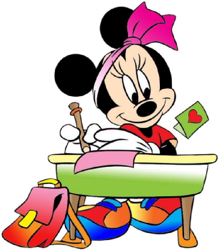 Minnie Mouse Working at a  School Desk