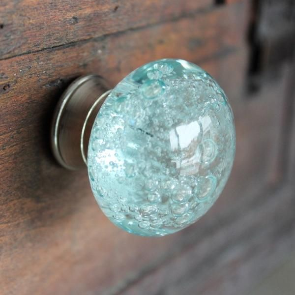Glass Drawer Knob With Bubbles In Light Blue
