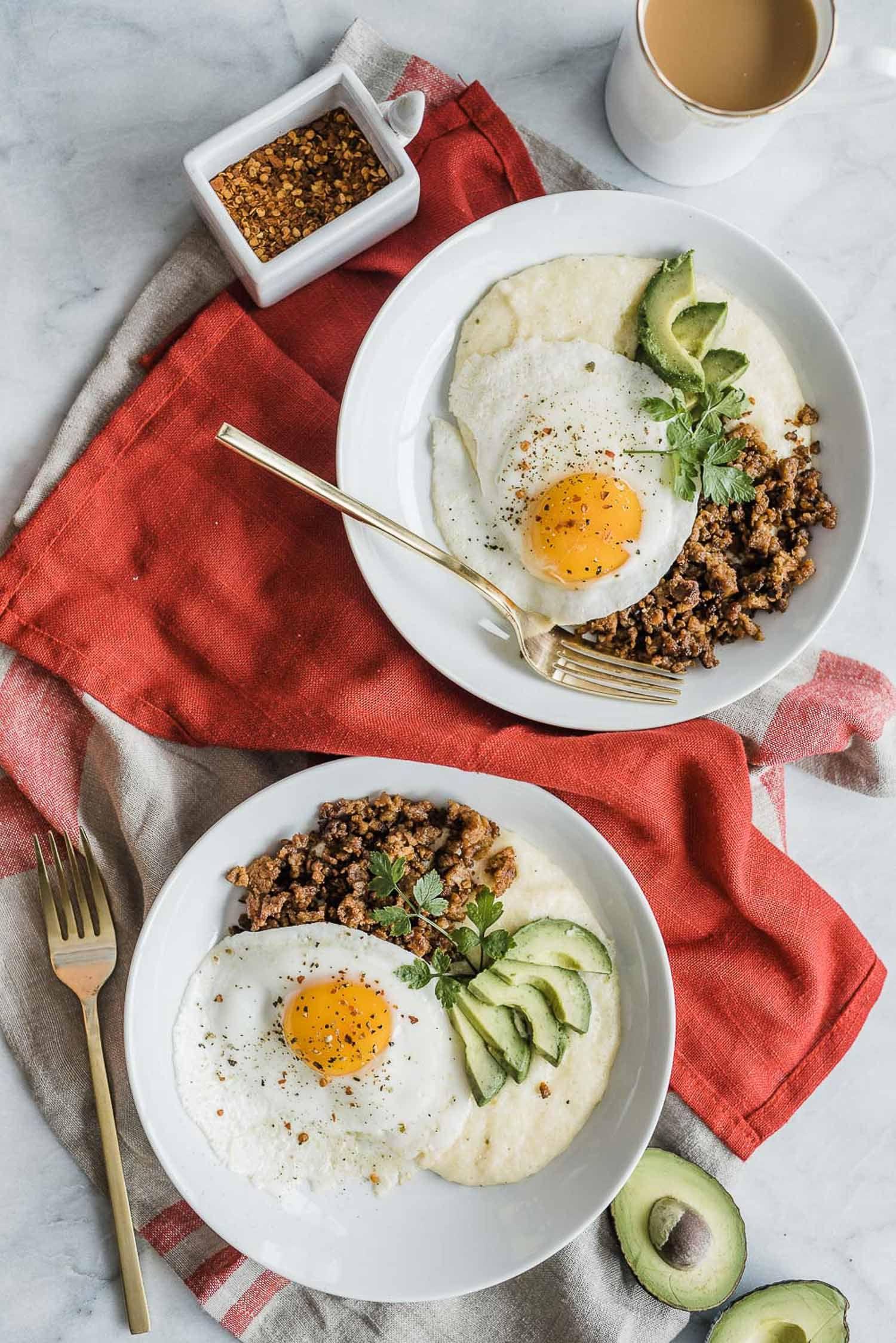 Chorizo And Grits Breakfast Bowl Grits Breakfast Breakfast Bowls Recipe Breakfast Bowls