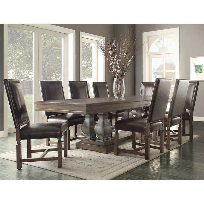 2399 Costco Parador 9 Piece Dining Set Bonded Leather