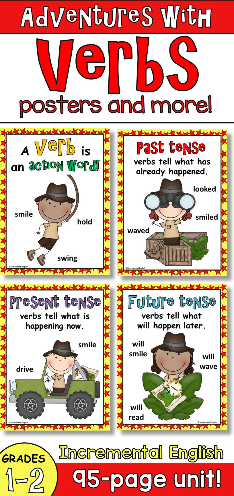 Action Verbs And Verb Tenses Unit Adventures With Verbs Verbs Poster Irregular Verb Anchor Chart Anchor Charts [ 1728 x 816 Pixel ]