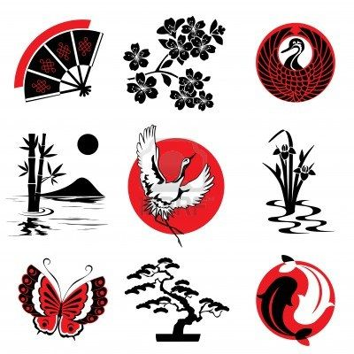 Vector Design Elements In The Japanese Style Japanese Tattoo Art Japanese Tattoo Japanese Drawings