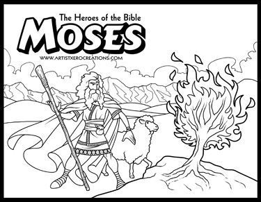 The Heroes Of The Bible Coloring Pages Moses And The Burning Bush Bible Coloring Pages Bible Coloring Bible For Kids