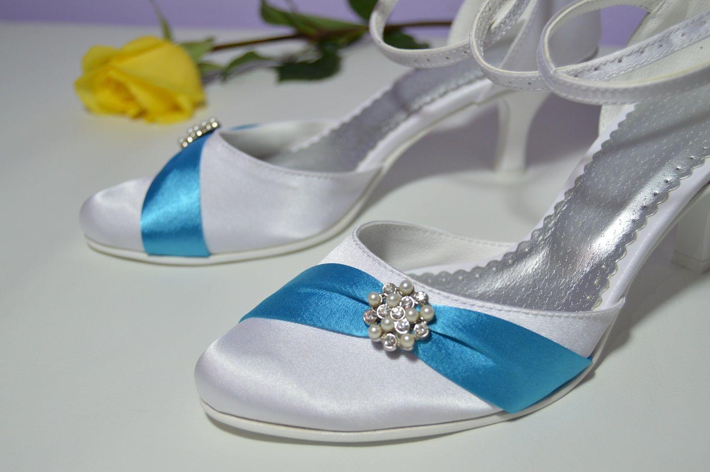 Svatební boty K-styl satén bílá + tyrkysová. Slož si i ty boty podle svého  vkusu. d66ba6da9d